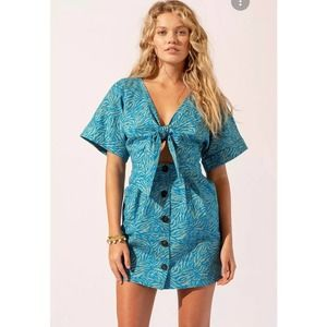 SUBOO MAGGIE TIE FRONT MINI DRESS LARGE